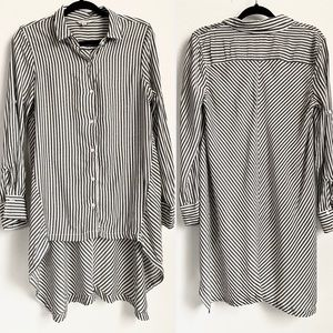 Max Studio Striped Button Front High-Low Shirt S